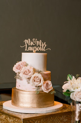 pink and champagne wedding cake