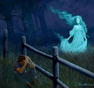Ilustración de la Llorona en el campo cerca a un hombre