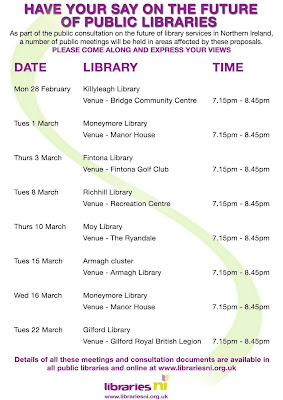Libraries NI consultation poster - downloaded on 28 February 2011