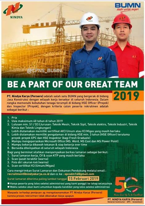 Lowongan Kerja BUMN PT Nindya Karya (Persero) Februari 2019