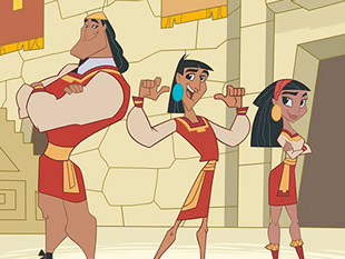 kuzco, Kronk and Malina in their school uniforms.