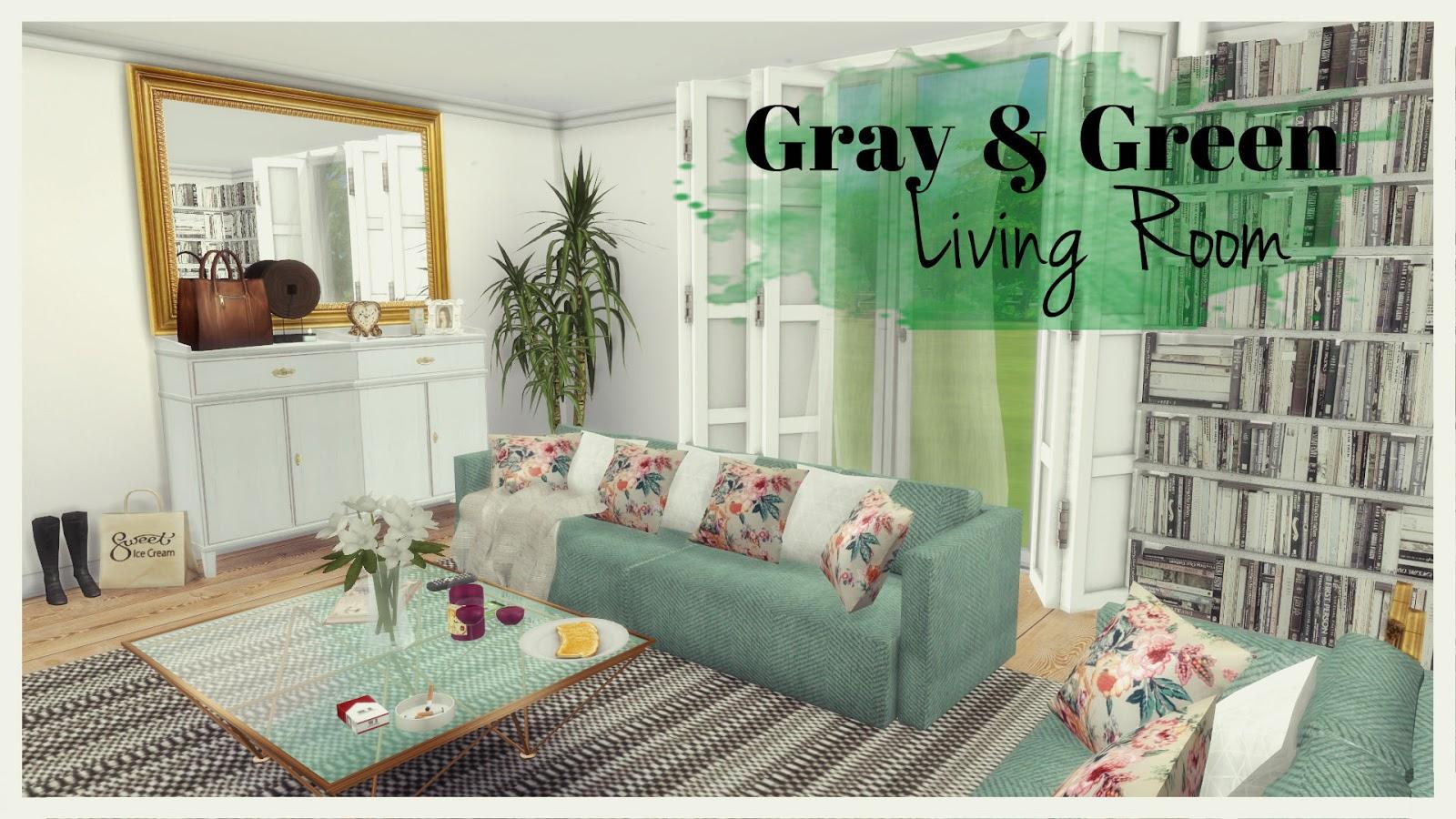 Sims 4   Gray U0026 Green Living Room Part 65