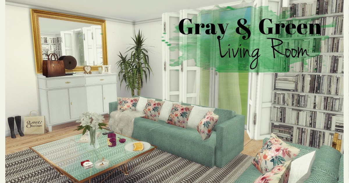 sims 4 gray green living room dinha