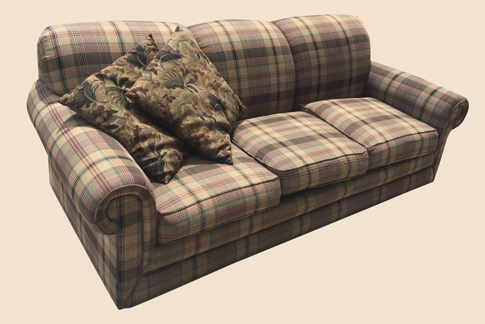 Uhuru Furniture & Collectibles: Brown Plaid Sofa - $125 SOLD