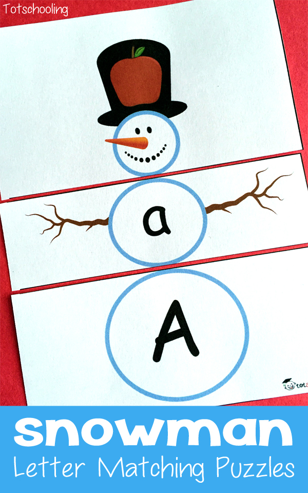 Snowman Alphabet Matching Puzzles for preschoolers and kindergarten to practice letter sounds and letter cases.