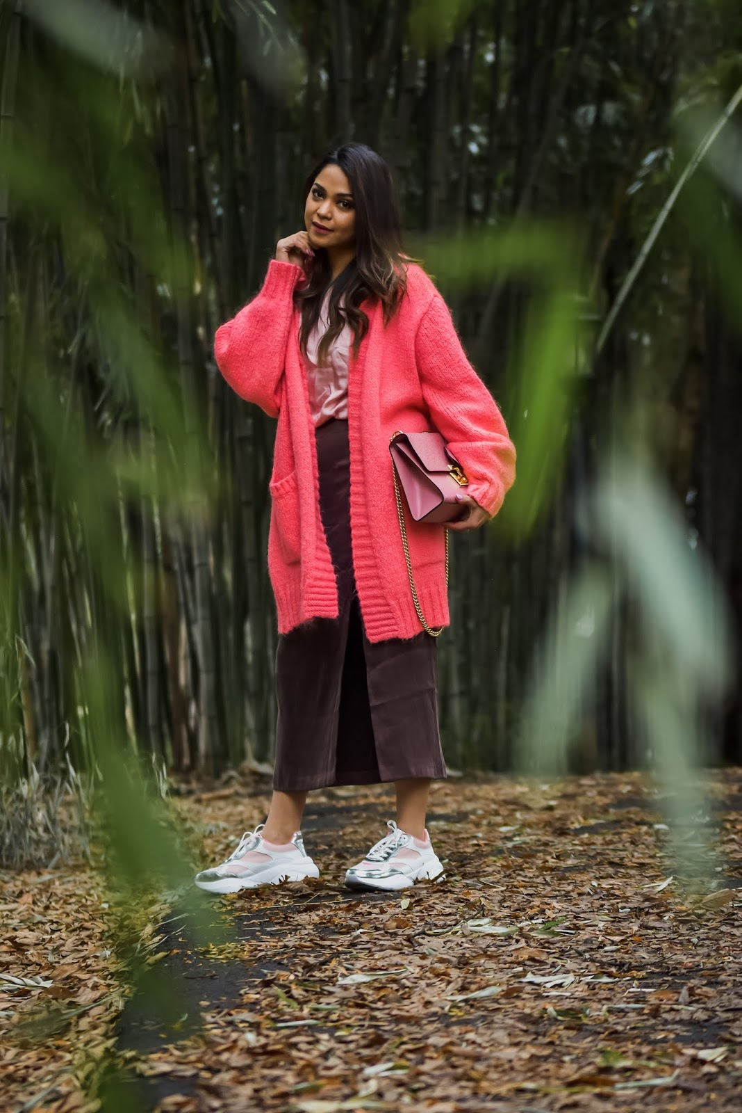 daddy sneakers, slit skirt, & other stories ksirt, street style, fashion, cardigan, saumya shiohare, myriad musings