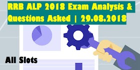 RRB ALP 2018 Exam Analysis & Questions Asked | 29.08.2018 | All Slots