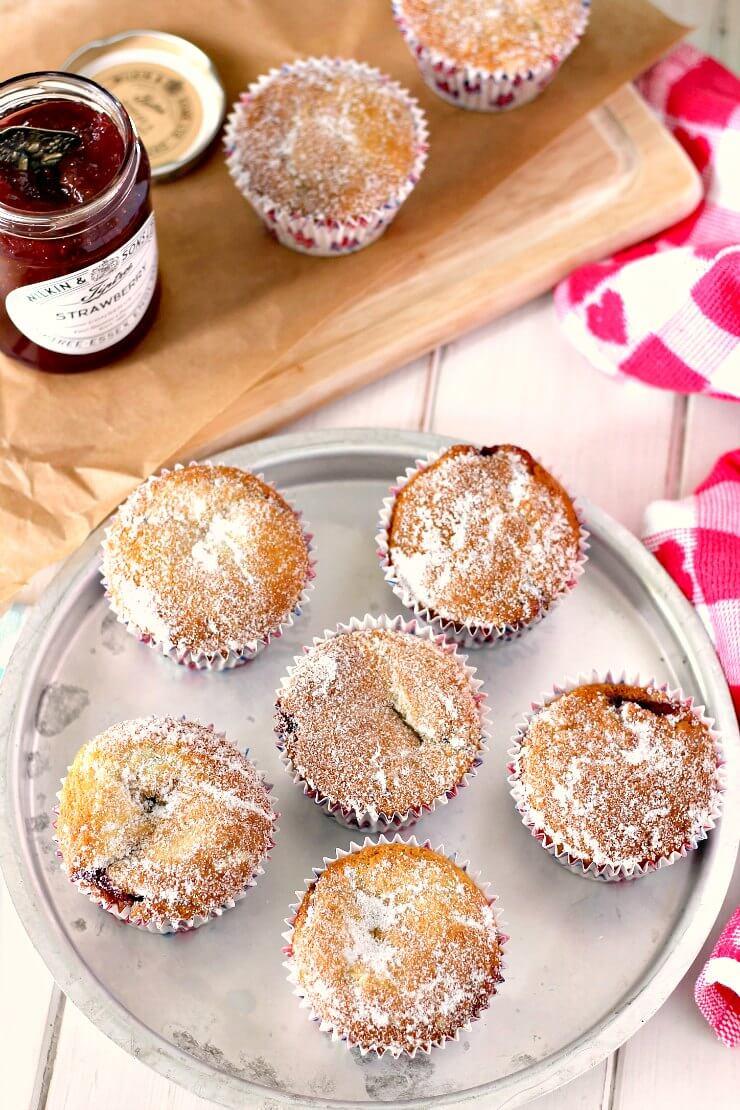 Easy Strawberry Jam Doughnut Muffins