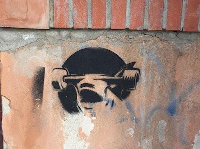 Wall stencils in Cagliari Sardinia.