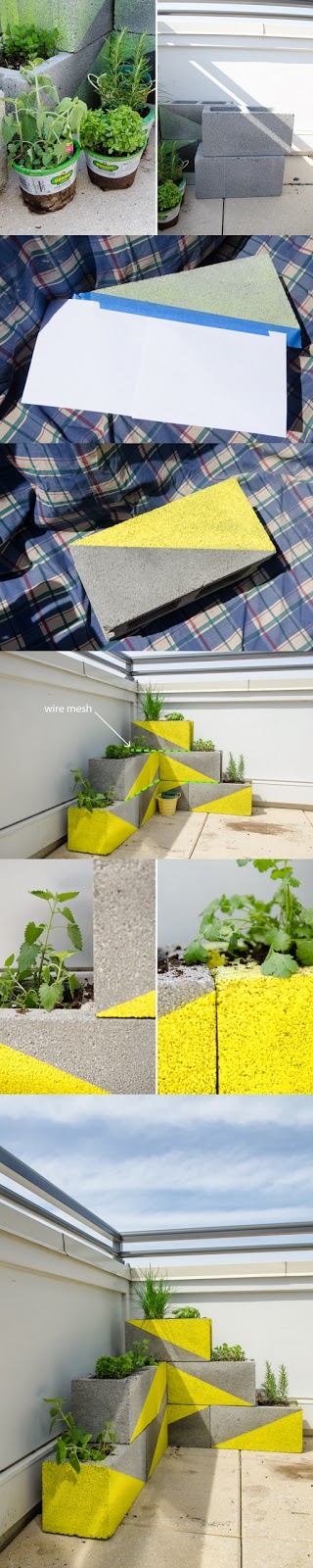 DIY planter with concrete blocks
