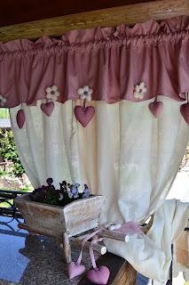 Tende country provenzali in cotone e misto lino panna e rosato - Tende casa rustica ...