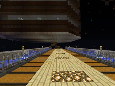 Onderkant van een farm (wortelboerderij) in het spel minecraft met opvang- en opslagsysteem.