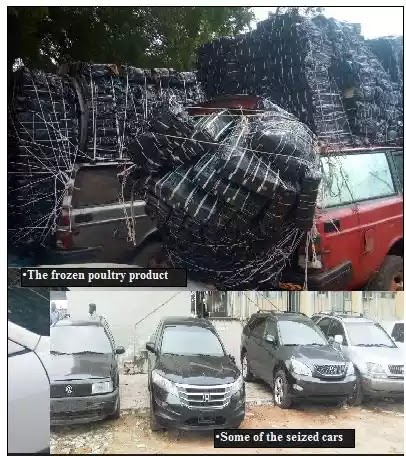 Ogun customs impounds N62m smuggled vehicles, frozen poultry, rice