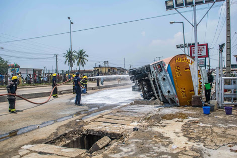 Another Fuel Tanker Tumbles In Lagos