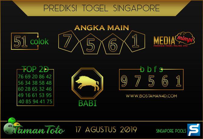 Prediksi Togel SINGAPORE TAMAN TOTO 17 AGUSTUS 2019