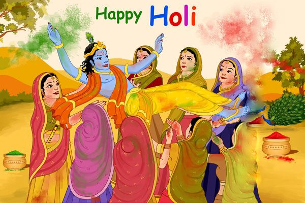 happy holi images with krishna