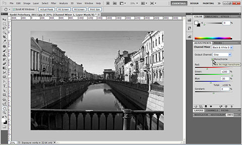 Convert photo to Black & White in Photoshop using Channel Mixer adjustment