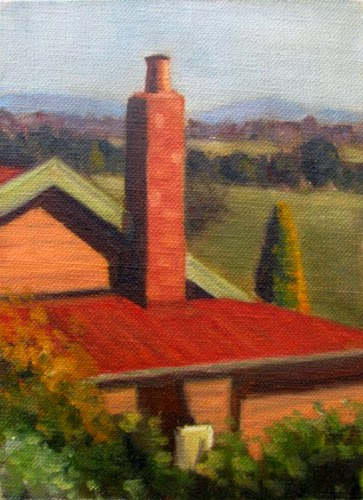 Oil painting of a weatherboard house and brick chimney, with a view of paddocks, trees and hills in the background.