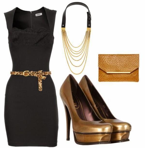 Vestido negro con accesorios dorados