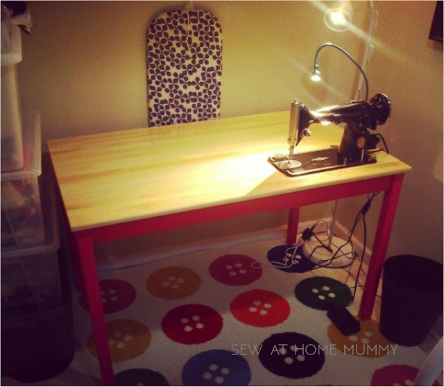 Singer vintage sewing machine Singer 201 in a IKEA table on hinges! - INGO table hack from Sew at Home Mummy