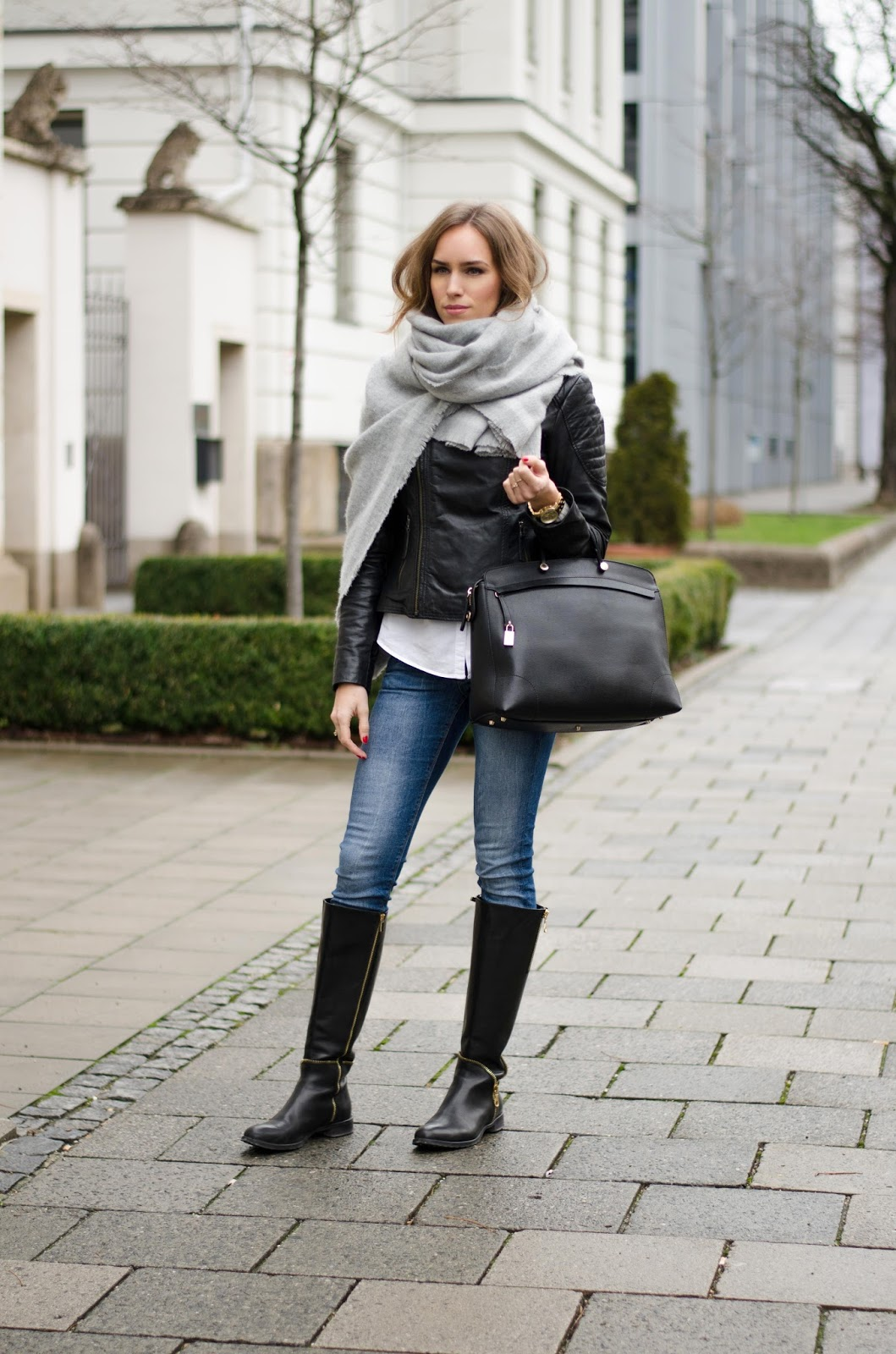 kristjaana mere wool scarf leather jacket knee boots winter style