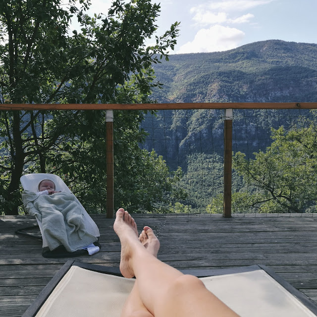 Mama and Baby Relaxing the Mountains