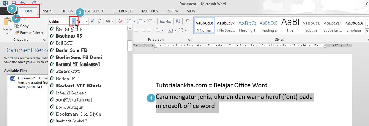 Cara mengatur jenis Huruf (font) pada microsoft office word