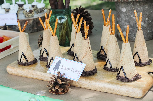 teepee cones at a camping party