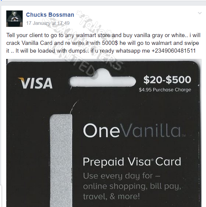 this is why your scammer wants certain cards because they can be used in fraud walmart must know this yet these scammers are openly posting this - Buy Prepaid Card