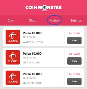 Coin monster pulsa gratis