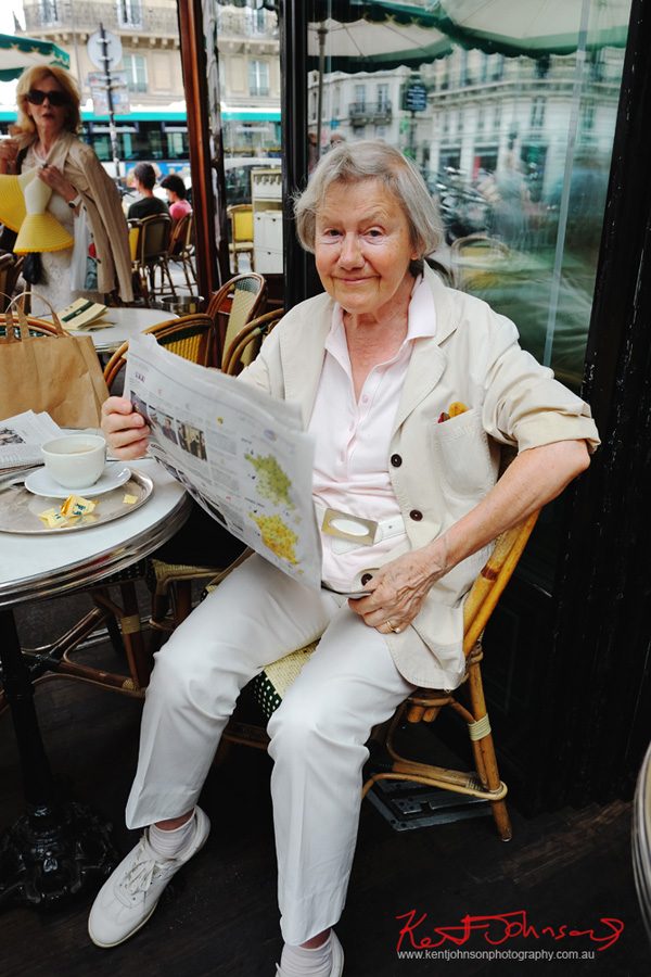 Reading the paper at the Les Deux Magots; as you do. If you're going to the Cité.. Shots from Paris on June 26 2017 for Street Fashion Sydney.