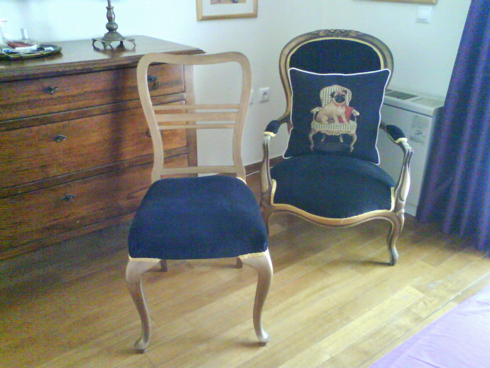 Re-covered chairs black velvet