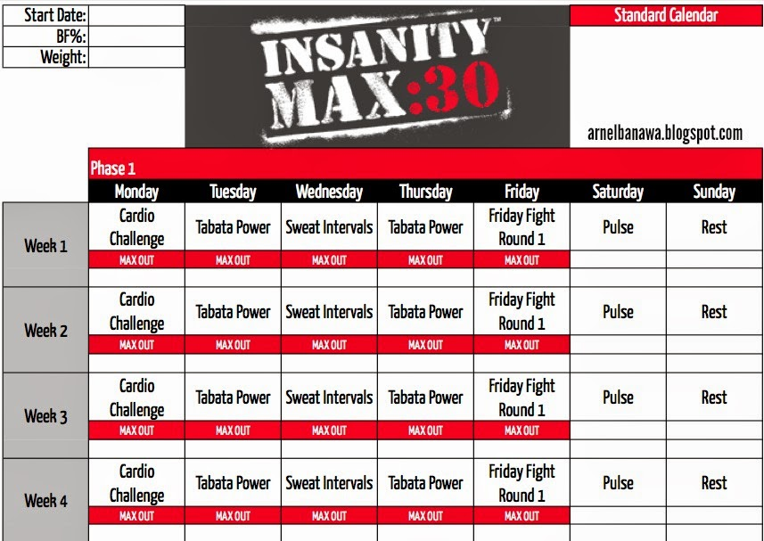 Arnel Banawa Insanity MAX 30 Workout Sheets - MAX 30 Workout Calendar