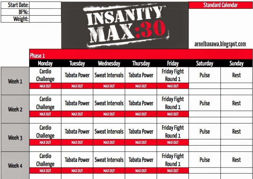 Arnel Banawa: Insanity MAX 30 Workout Sheets - MAX 30 Workout Calendar