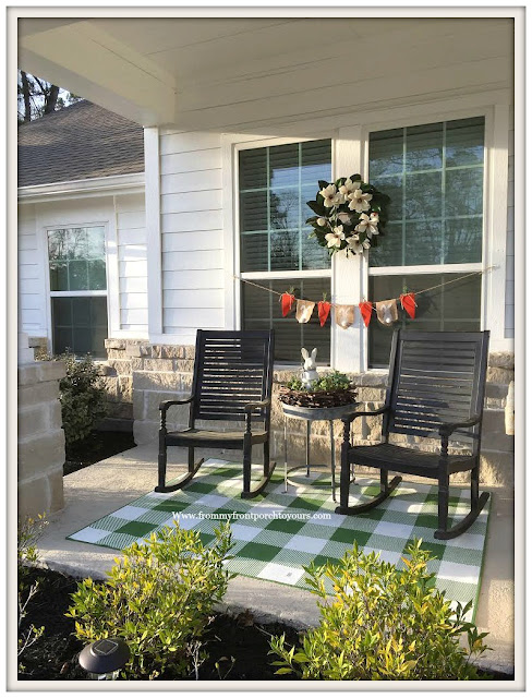 Early Spring Front Porch-Black-Rocking CHairs-Buffalo Check Rug-Magnolia Wreath-From My Front Porch To Yours
