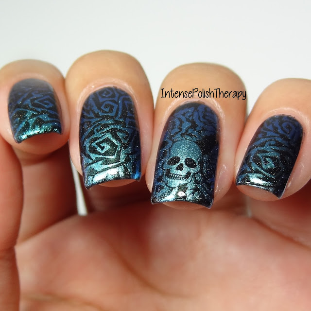 Twisted Vines, Skulls & Roses Manicure