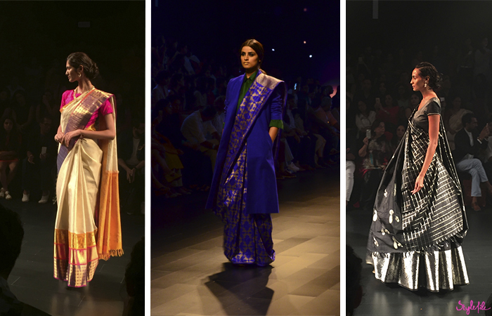 A model wears a traditional Indian sarees for Payal Khandwala and Tulsi Silks at Lakme Fashion Week in Mumbai India