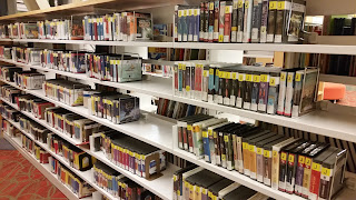 shelves of cd books at Silver Spring Library