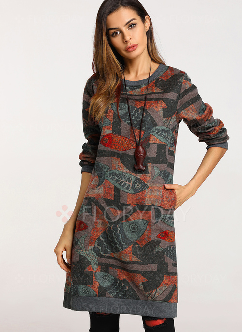 Floral Long Sleeve Knee-Length Shift Dress