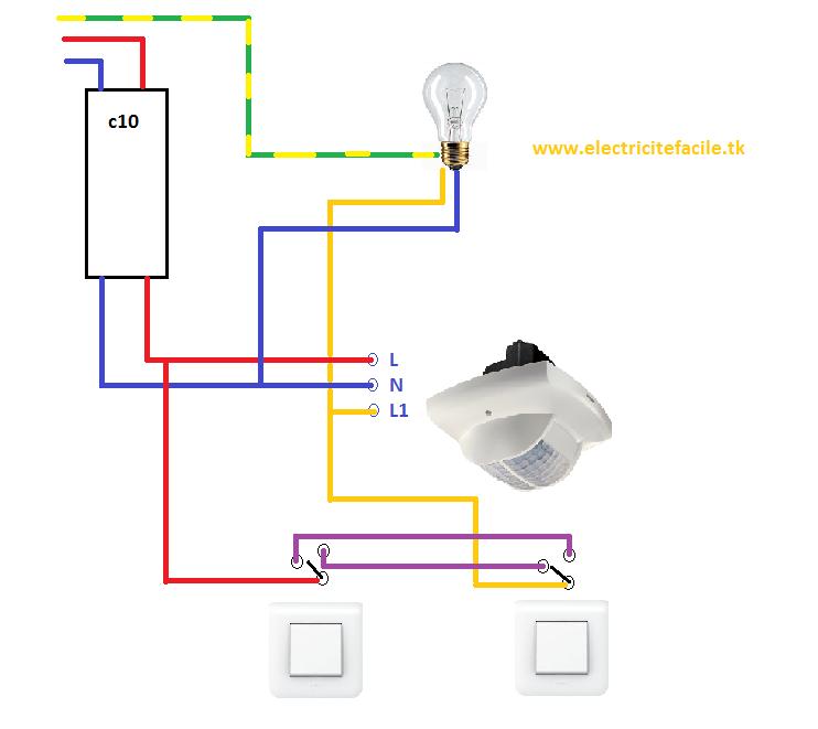 Schema installation montage d tecteur de mouvement et interrupteur va et vient installation - Schema va et vient electrique ...
