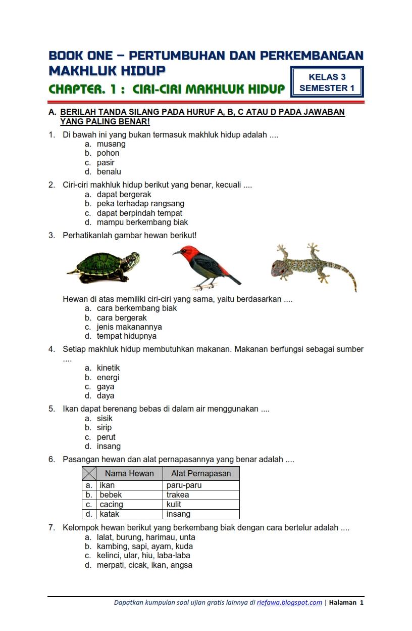 Download Soal Tematik Kelas 3 Semester 1 Tema 1 Subtema 1 Pertumbuhan Dan Perkembangan Makhluk Hidup Ciri Ciri Makhluk Hidup Edisi Revisi 2018 Rief Awa Blog