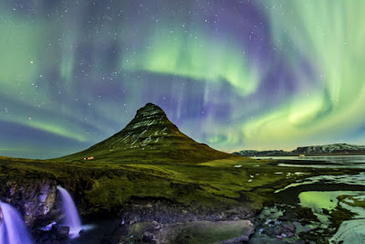 The Northern Lights over Kirkjufell mountain