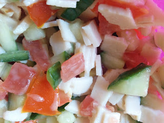 Pitta Stuffing Mix - Cucumber, Tomato and Turkey Slices all chopped up and mixed with Mayonnaise