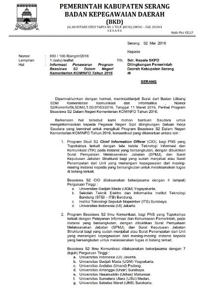 Bkd Kabupaten Bogor : kabupaten, bogor, Jagoan, Banten:, Informasi, Penawaran, Beasiswa, Pegawai, Negeri, Sipil, Kabupaten, Serang