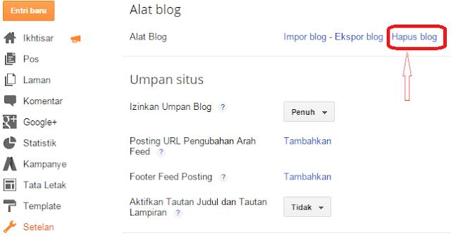Cara Menghapus Blog di Blogger