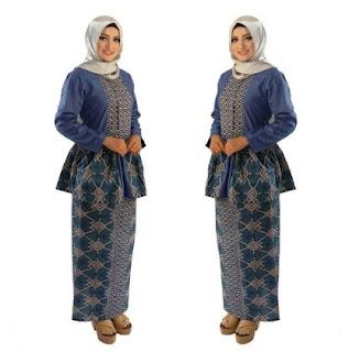 Baju batik muslim pesta lengan panjang