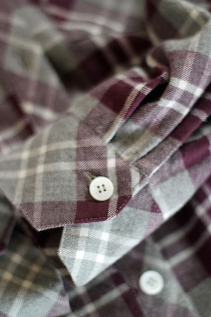 Mood Fabrics' plaid flannel Archer shirts- cuff