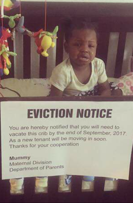 Lol... Nigerian mum gives toddler daughter eviction notice from her crib and she doesn