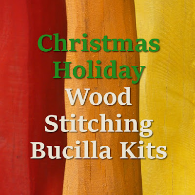 Wood sewing and stitching kits by Bucilla