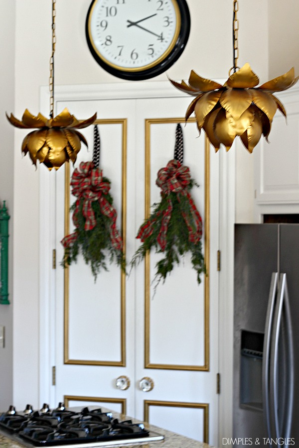 Christmas kitchen decor, Ikea Bravur clock, World Market Lotus pendant light
